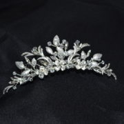 Leaved Crystal & stone floral tiara comb.