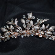 Leaved Crystal & stone floral tiara comb. Available in Silver and rose gold