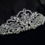 Ansoni Style 8807 Rhinestone and pearl tiara. Available in silver and rosegold