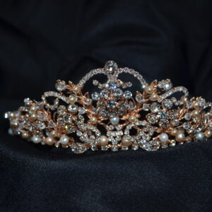 Rhinestone and pearl tiara. Available in silver and rose gold.