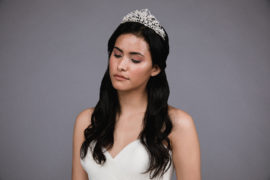 Ansoni Style 8807 Rhinestone and pearl tiara. Available in silver and rosegold. 3
