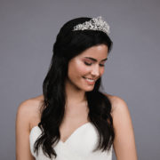 Ansoni Style 8807 Rhinestone and pearl tiara. Available in silver and rosegold. 4