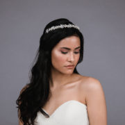 Ansonia style 8810 Pearl headband with rhinestones and pearls. Available in silver and rosegold. (2)