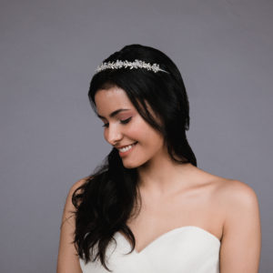 Ansonia style 8810 Pearl headband with rhinestones and pearls. Available in silver and rosegold. (3)