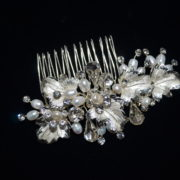 Leaf motif rhinestone and pearl comb.