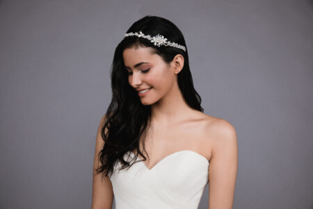 Ansonia style 8818 Rhinestone and pearl headband with organza ties. (5)