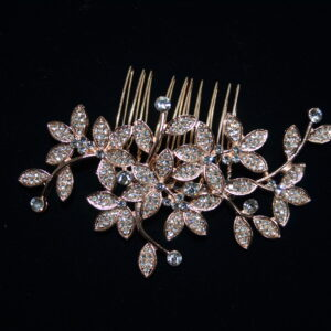 Leaved rhinestone comb. Available in silver and rose gold.
