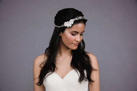 Ansonia style 8819 Headband or belt with Organza flowers,rhinestones and pearls. 2 (3)