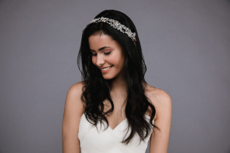 Ansonia style 8820 Headband with small organza flowers,rhinestones, and pearls. (3)