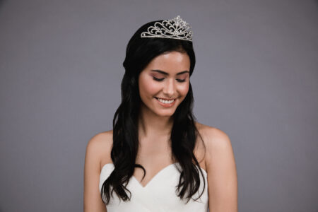 Ansonia style 8821 Rhinestone tiara. Available in silver and rosegold. (3)