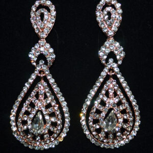 Rhinestone earrings. Available in silver and rose gold.