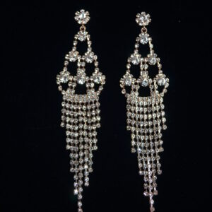 Rhinestone earrings. Available in silver and rose gold