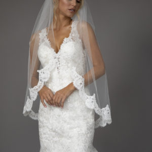 short Lace edge veil.
