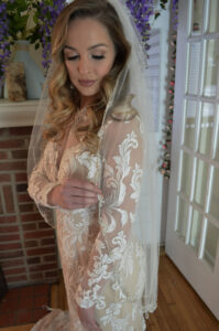 E1203 Embroirdered metallic floral edge veil with rhinestone accents. (2)