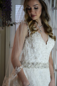 E1205 Lace adorned veil with organza flowers. Available short & long. (3)